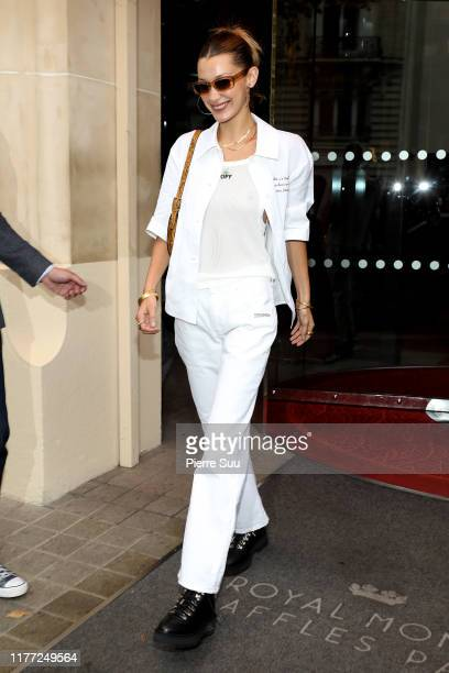 Bella Hadid comes out of the 'Royal Monceau' hotel on September 26, 2019 in Paris, France.