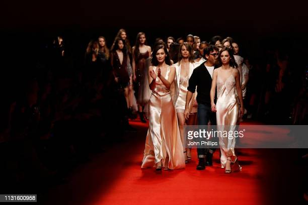 Bella Hadid fashion designer Lorenzo Serafini and other models walk the runway at the Philosophy Di Lorenzo Serafini show at Milan Fashion Week...