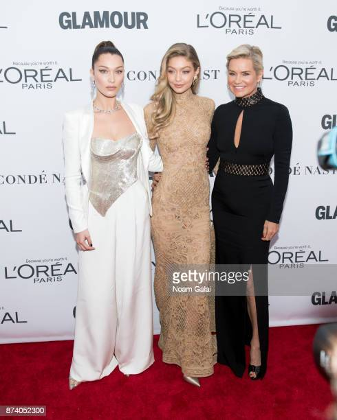 Bella Hadid Gigi Hadid and Yolanda Foster attend the 2017 Glamour Women of The Year Awards at Kings Theatre on November 13 2017 in New York City