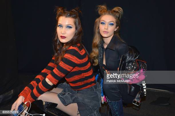 Bella Hadid Gigi Hadid pose backstage at Anna Sui Fall/Winter 2017 Show during New York Fashion Week The Shows on February 15 2017 in New York City