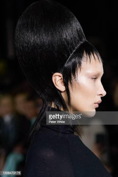 Bella Hadid, hair detail, walks the runway during the Haider Ackermann show as part of the Paris Fashion Week Womenswear Fall/Winter 2020/2021 on...