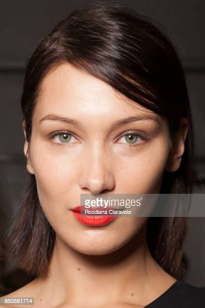 Bella Hadid is seen ahead of backstage the Max Mara show during Milan Fashion Week Spring/Summer 2018 on September 21 2017 in Milan Italy