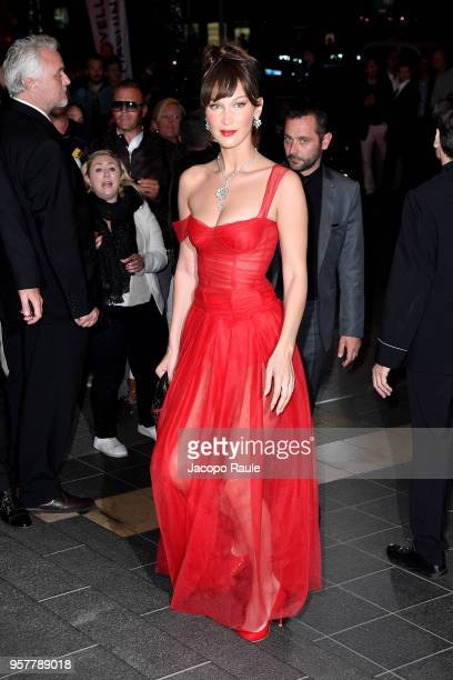 Bella Hadid is seen arriving at Dior dinner during the 71st annual Cannes Film Festival at on May 12 2018 in Cannes France
