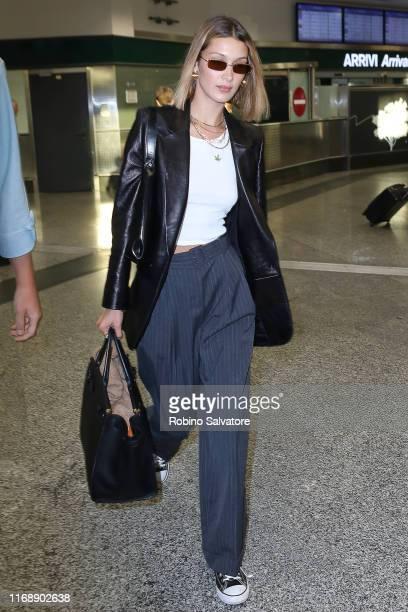 Bella Hadid is seen arriving for Milan Fashion Week Spring/Summer 2020 on September 17, 2019 in Milan, Italy.