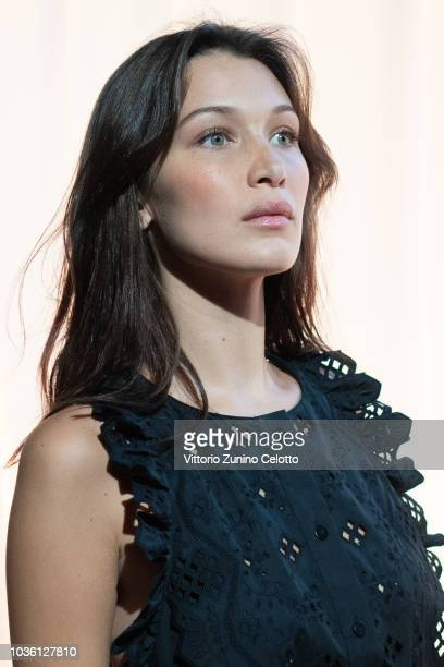 Bella Hadid is seen backstage ahead of the Alberta Ferretti show during Milan Fashion Week Spring/Summer 2019 on September 19 2018 in Milan Italy
