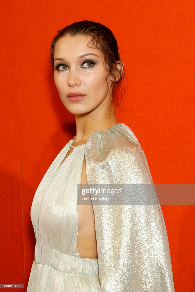 Bella Hadid is seen backstage ahead of the Alberta Ferretti show during Milan Fashion Week Spring/Summer 2018on September 20, 2017 in Milan, Italy.