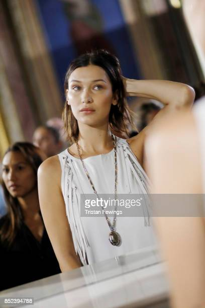 Bella Hadid is seen backstage ahead of the Bottega Veneta show during Milan Fashion Week Spring/Summer 2018 on September 23 2017 in Milan Italy