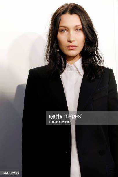 Bella Hadid is seen backstage ahead of the Fendi show during Milan Fashion Week Fall/Winter 2017/18 on February 23 2017 in Milan Italy