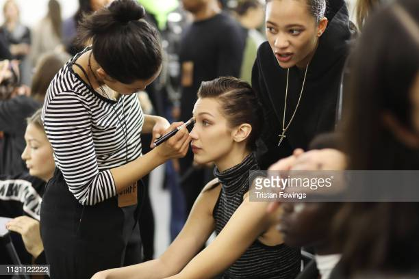 Bella Hadid is seen backstage ahead of the Max Mara show at Milan Fashion Week Autumn/Winter 2019/20 on February 21 2019 in Milan Italy