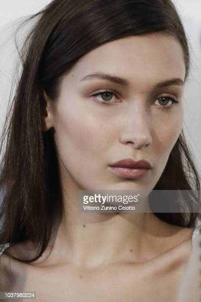 Bella Hadid is seen backstage ahead of the Roberto Cavalli show during Milan Fashion Week Spring/Summer 2019 on September 22 2018 in Milan Italy