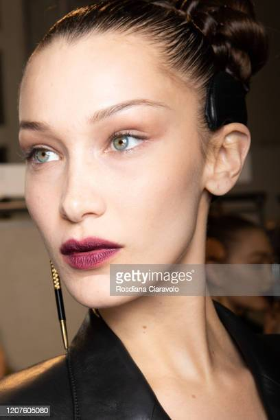 Bella Hadid is seen backstage at the Fendi fashion show on February 20, 2020 in Milan, Italy.