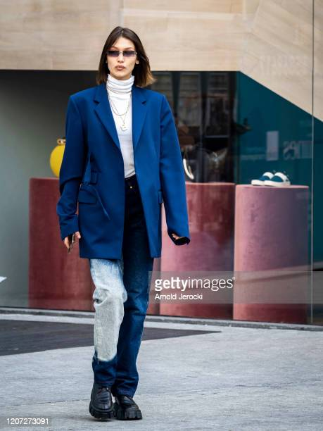 Bella Hadid is seen during Milan Fashion Week Fall/Winter 2020-2021 on February 19, 2020 in Milan, Italy.