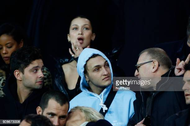 Bella Hadid is seen during the UEFA Champions League round of 16 2nd leg football match between Paris SaintGermain FC and Real Madrid CF on March 6...