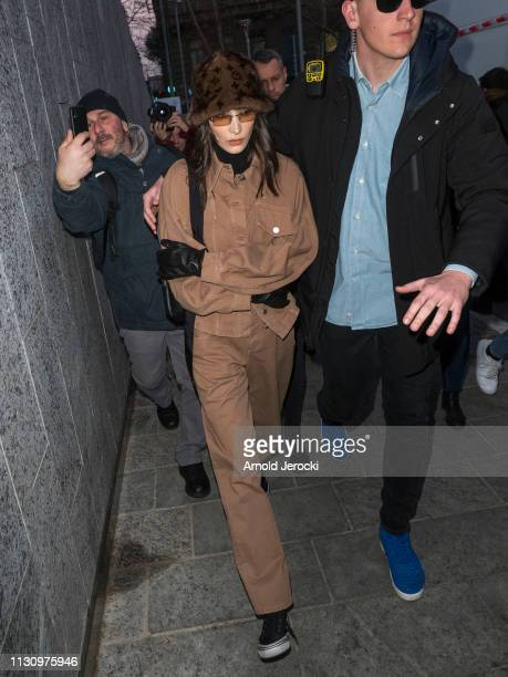 Bella Hadid is seen has she leaving Alberta Ferretti fashion show on Day 1 Milan Fashion Week Autumn/Winter 2019/20 on February 20 2019 in Milan Italy