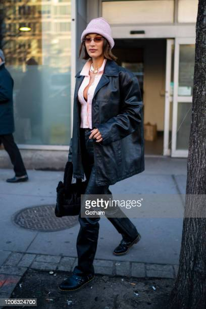 Bella Hadid is seen in NoHo on February 14, 2020 in New York City.