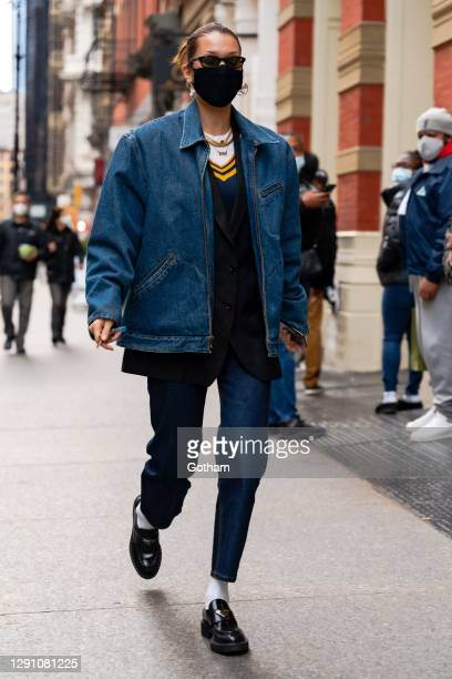 Bella Hadid is seen in SoHo on December 13, 2020 in New York City.