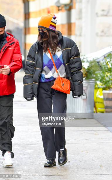 Bella Hadid is seen in SoHo on February 11, 2021 in New York City.