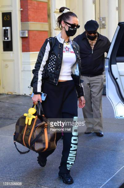 Bella Hadid is seen in SoHo on February 16, 2021 in New York City.
