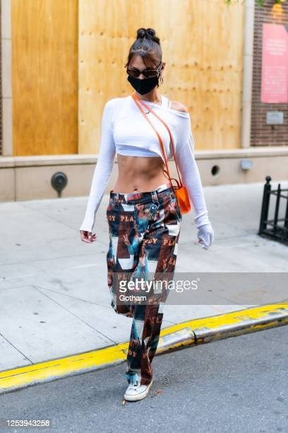 Bella Hadid is seen in SoHo on July 02, 2020 in New York City.