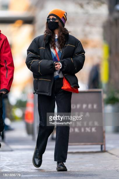 Bella Hadid is seen in Tribeca on February 11, 2021 in New York City.