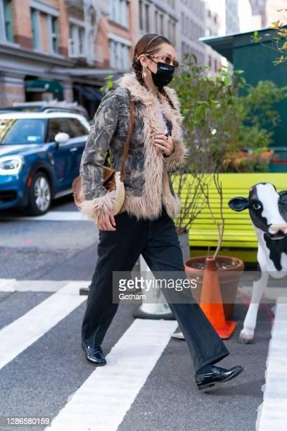 Bella Hadid is seen in Tribeca on November 19, 2020 in New York City.