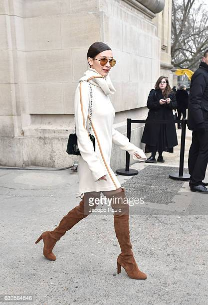 Bella Hadid is seen leaving the Chanel Fashion Show during Paris Fashion Week Haute Couture F/W 20172018 on January 24 2017 in Paris France