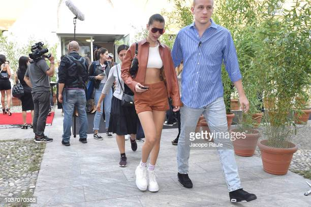 Bella Hadid is seen leaving the Tod's show during Milan Fashion Week Spring/Summer 2019 on September 21 2018 in Milan Italy