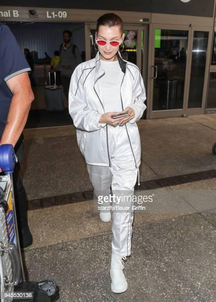 Bella Hadid is seen on April 12 2018 in Los Angeles California