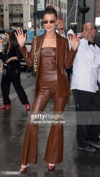 Bella Hadid is seen on April 5, 2019 in New York City.
