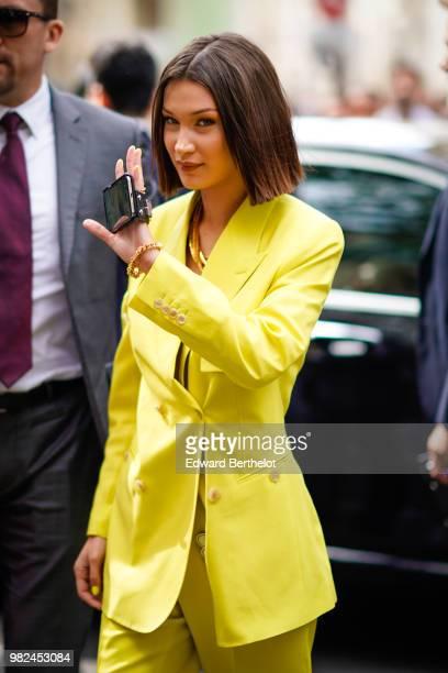 Bella Hadid is seen outside Dior during Paris Fashion Week Menswear SpringSummer 2019 on June 23 2018 in Paris France