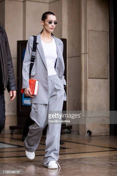 Bella Hadid is seen outside Haider Ackermann on Day 6 Paris Fashion Week Autumn/Winter 2019/20 on March 2 2019 in Paris France
