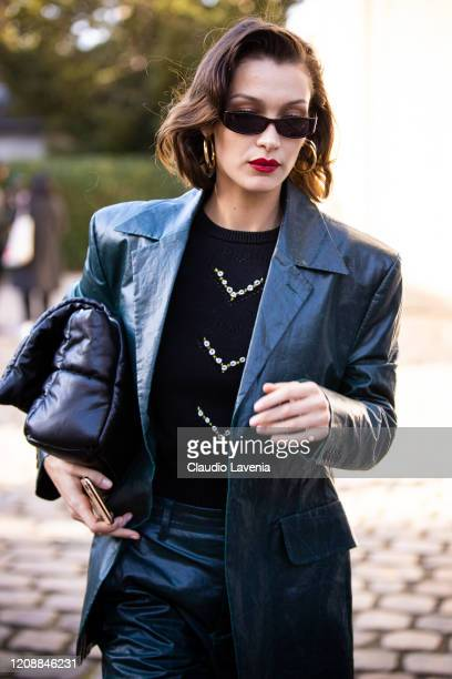 Bella Hadid is seen outside Lanvin fashion show on February 26 2020 in Paris France