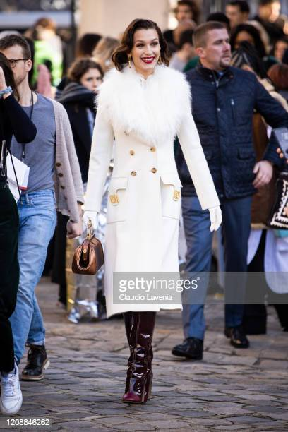 Bella Hadid is seen outside Lanvin fashion show on February 26, 2020 in Paris, France.