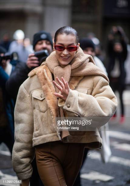 Bella Hadid is seen outside Michael Kors during New York Fashion Week Autumn Winter 2019 on February 13 2019 in New York City