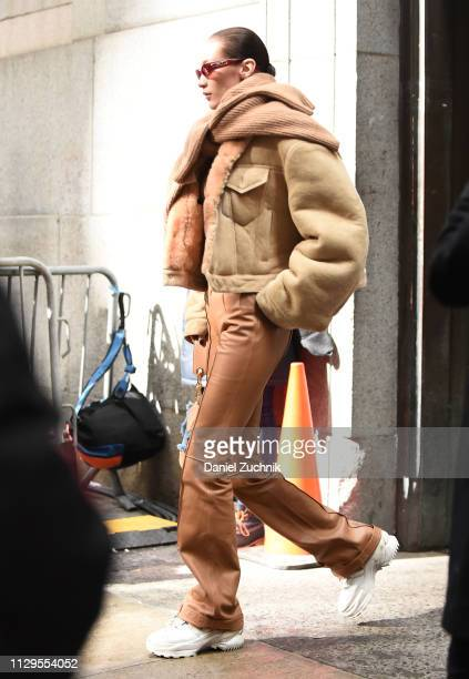 Bella Hadid is seen outside the Michael Kors show during New York Fashion Week Fall/Winter 2019 on February 13 2019 in New York City