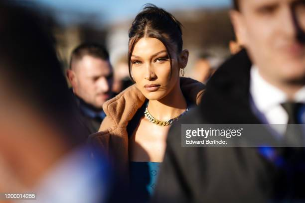 Bella Hadid is seen, outside Vuitton, during Paris Fashion Week - Menswear Fall / Winter 2020-2021 on January 16, 2020 in Paris, France.
