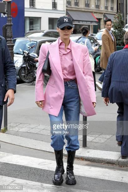 Bella Hadid is seen strolling in central Paris on September 30, 2019 in Paris, France.