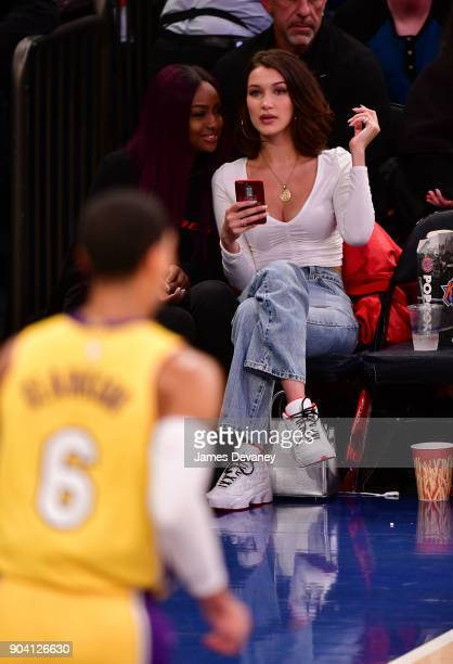 Bella Hadid is seen watching Jordan Clarkson during the New York Knicks Vs Los Angeles Lakers game at Madison Square Garden on December 12 2017 in...