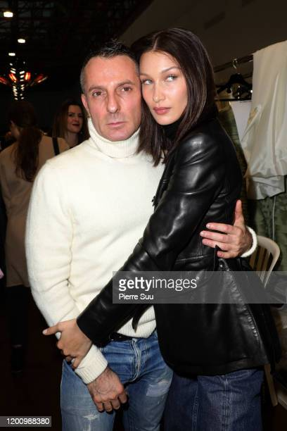 Bella Hadid is seen with Designer Alexandre Vauthier backstage after the Alexandre Vauthier Haute Couture Spring/Summer 2020 show as part of Paris...