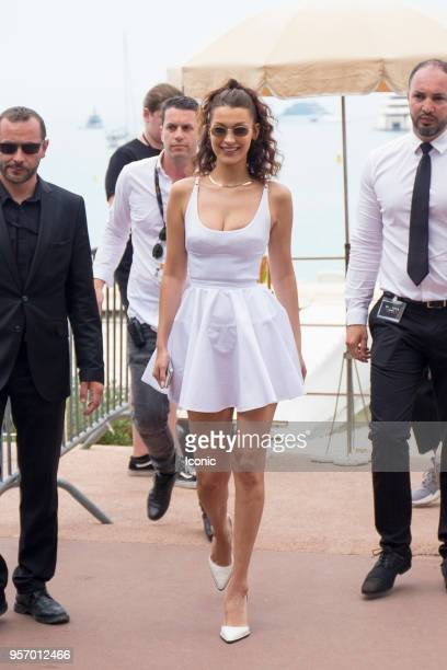 Bella Hadid leaves a restaurant during the 71st annual Cannes Film Festival on May 10, 2018 in Cannes, France.
