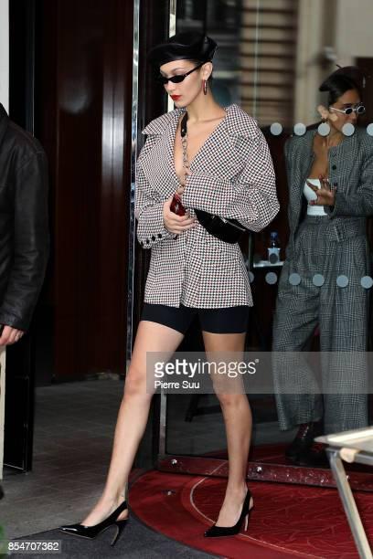 Bella Hadid leaves her hotel on September 27 2017 in Paris France
