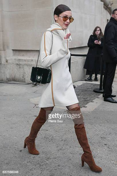 Bella Hadid leaves the Chanel Haute Couture Spring Summer 2017 show as part of Paris Fashion Week on January 24 2017 in Paris France