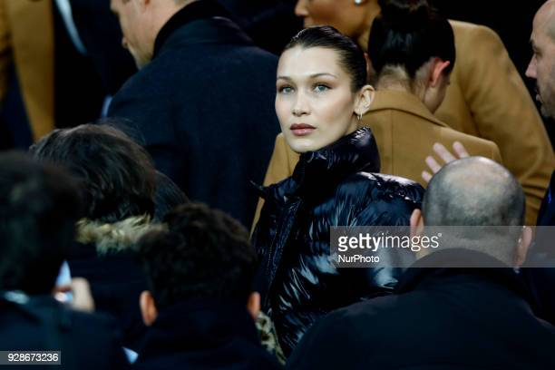 Bella Hadid looks during the UEFA Champions League round of 16 2nd leg football match between Paris SaintGermain FC and Real Madrid CF on March 6...