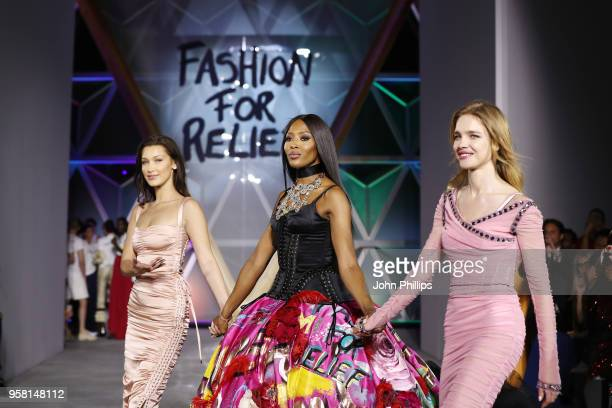 Bella Hadid Naomi Campbell and Natalia Vodianova walk the Runway at Fashion for Relief Cannes 2018 during the 71st annual Cannes Film Festival at...