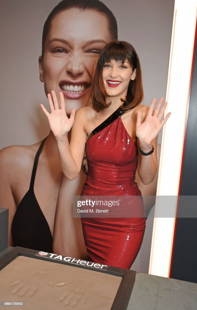 Bella Hadid opens the TAG Heuer Flagship Store on Oxford Street on December 8, 2017 in London, England.