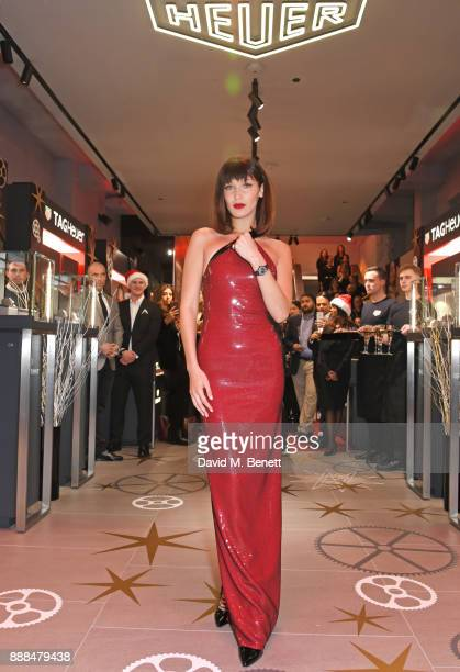 Bella Hadid opens the TAG Heuer Flagship Store on Oxford Street on December 8 2017 in London England