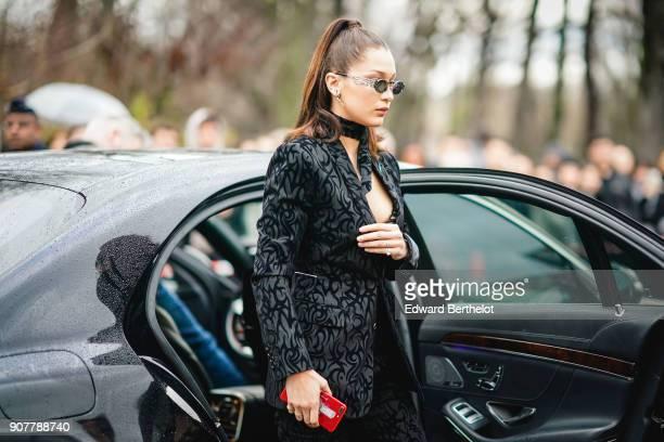 Bella Hadid outside Dior during Paris Fashion Week Menswear Fall Winter 20182019 on January 20 2018 in Paris France
