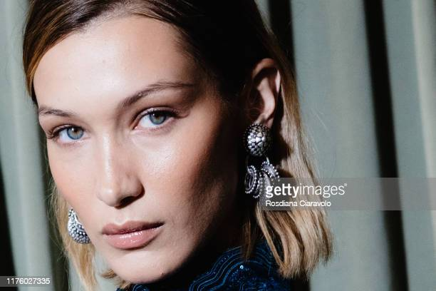 Bella Hadid poses at backstage for Etro fashion show during the Milan Fashion Week Spring/Summer 2020 on September 20, 2019 in Milan, Italy.