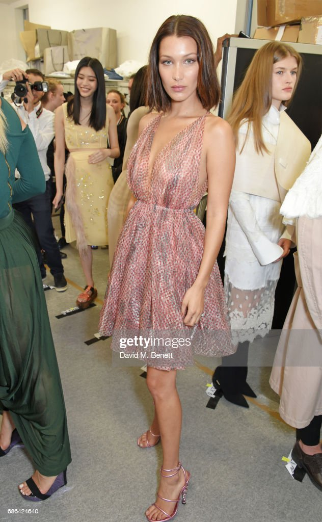 Bella Hadid poses backstage at the Fashion for Relief event during the 70th annual Cannes Film Festival at Aeroport Cannes Mandelieu on May 21, 2017 in Cannes, France.