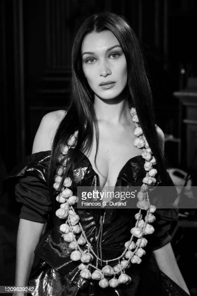 Bella Hadid poses backstage before the Vivienne Westwood Womenswear Fall/Winter 2020/2021 show as part of Paris Fashion Week on February 29, 2020 in...